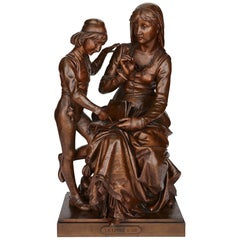 Bronze Mother and Child by Faure De Brousse