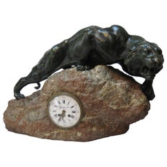 Bronze Mountain Lion with Tiffany & Co. Clock