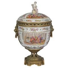 Bronze Mounted Berlin Porcelain Covered Centerpiece, circa 1875