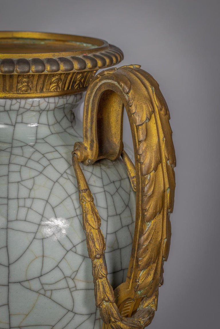 Bronze Mounted Chinese Porcelain Crackled Celadon Two-Handled Vase, Circa 1860 In Good Condition For Sale In New York, NY