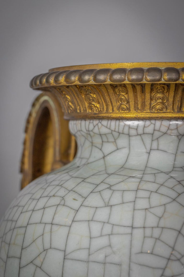 Bronze Mounted Chinese Porcelain Crackled Celadon Two-Handled Vase, Circa 1860 For Sale 3