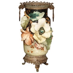 Bronze Mounted Edouard Gilles Barbotine Vase from France, circa 1880