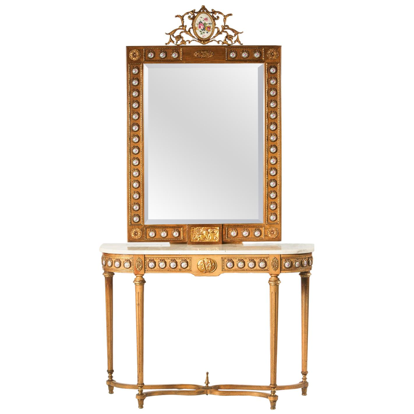 Bronze Mounted Marble-Top Console Table and Mirror