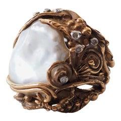 Bronze Natural Pearls Diamonds Bronze Ring