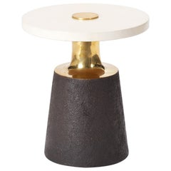Bronze Necked Size Table with Parchment Top by Elan Atelier