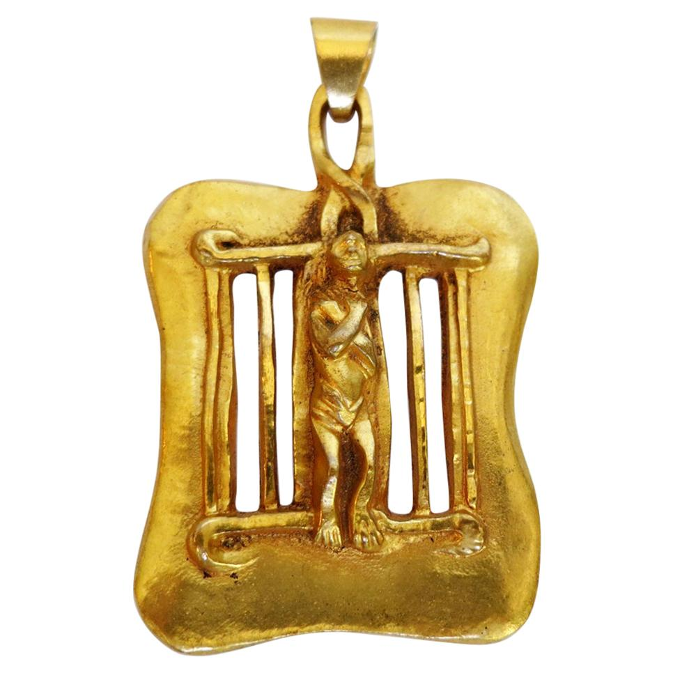 Bronze Necklace Pendant Saint Laurent Line Vautrin