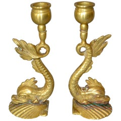 Bronze Neoclassical Sea Serpent or Koi Fish Candleholders, Candlesticks, Pair