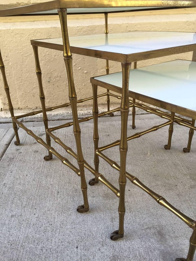 French Bronze Nesting Tables by Maison Baguès For Sale