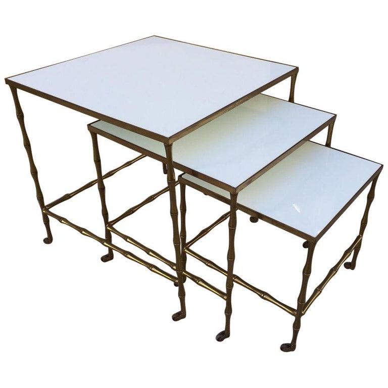 Bronze Nesting Tables by Maison Baguès For Sale