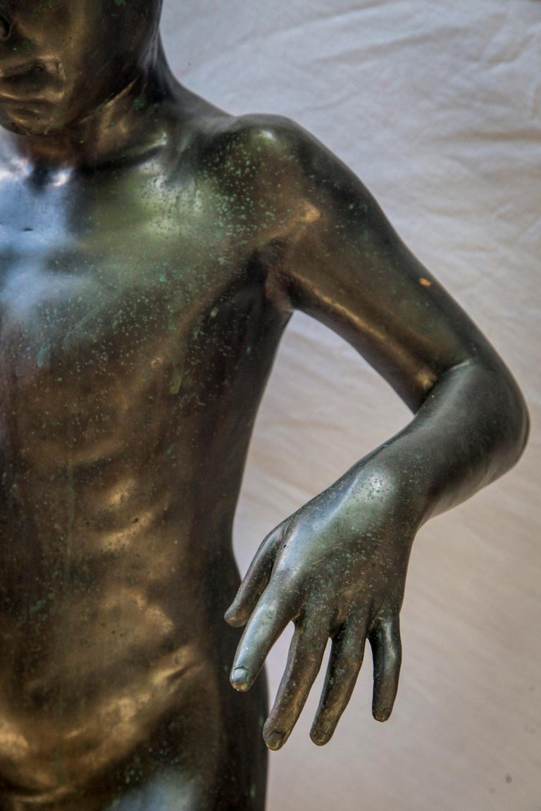 Italian Bronze of a Nude Boy For Sale