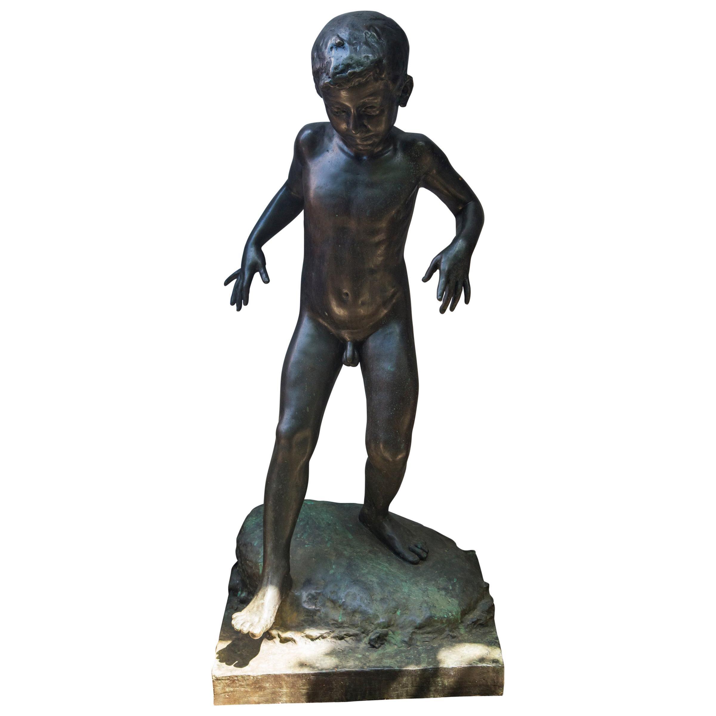 Bronze of a Nude Boy