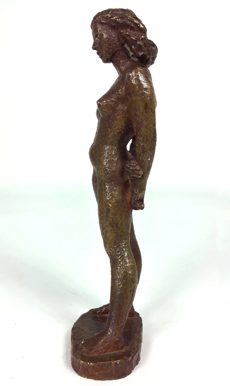 Bronze of a Standing Nude by Einar Luterkort In Excellent Condition For Sale In London, GB