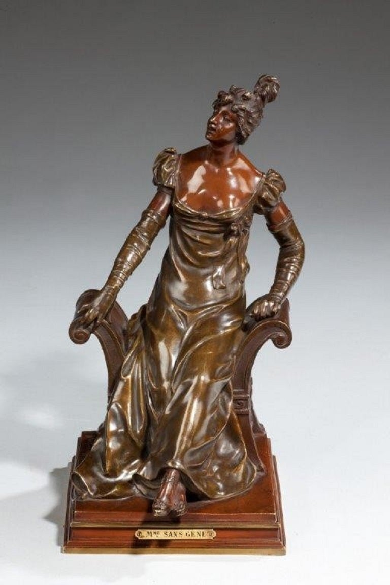 French Bronze of an Edwardian Lady on a Window Seat For Sale