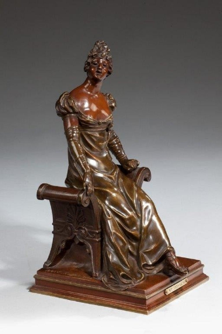 Bronze of an Edwardian Lady on a Window Seat In Good Condition For Sale In Lymington, Hampshire