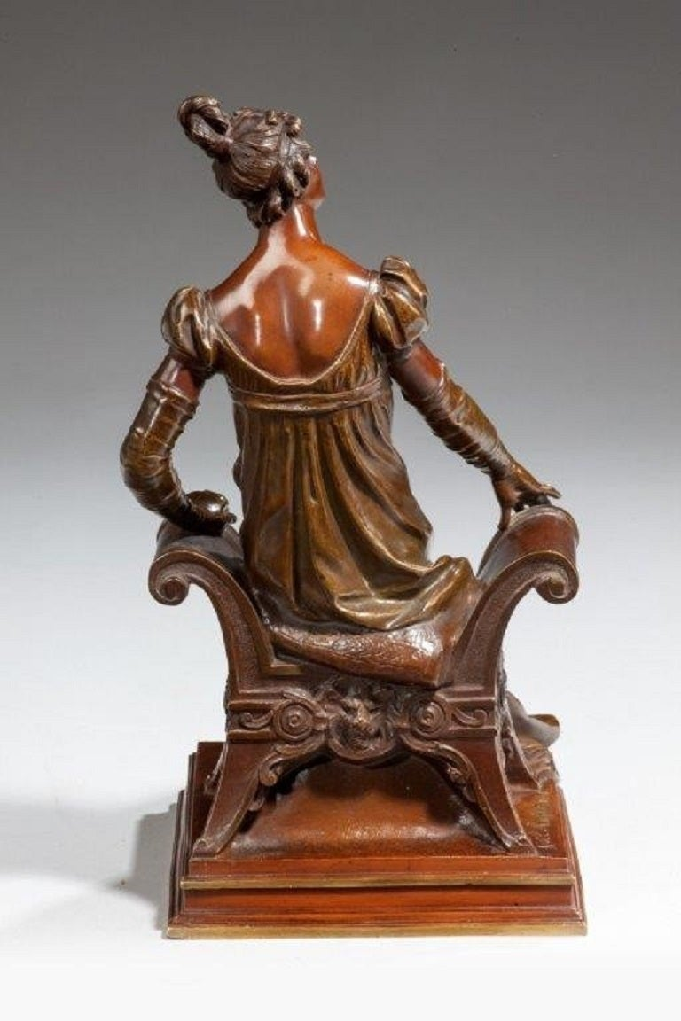 Bronze of an Edwardian Lady on a Window Seat For Sale 1
