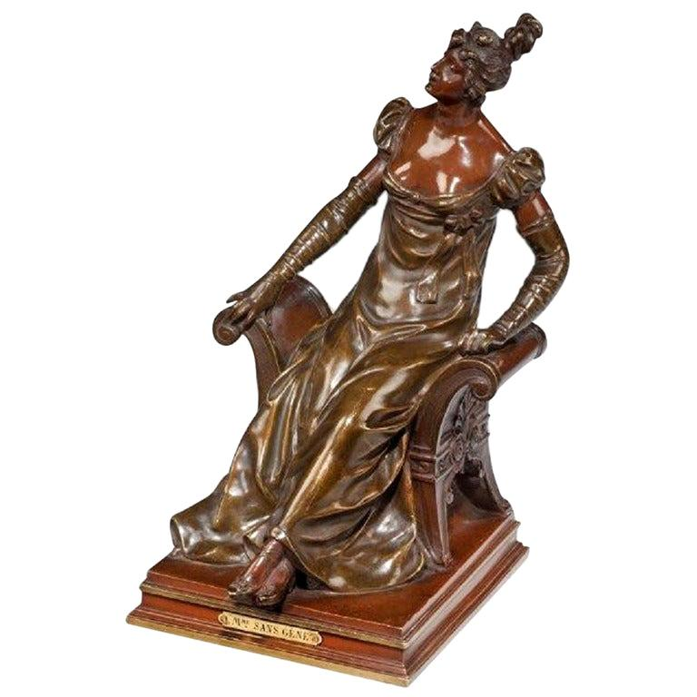Bronze of an Edwardian Lady on a Window Seat For Sale