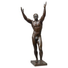 Bronze of Charles Atlas Artist signed and Cast by Roman Bronze Works circa 1930s
