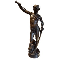 "Bronze of ""David after the Battle"" or ""David Vanqer"" by Marius-Jean-Antonin Me"
