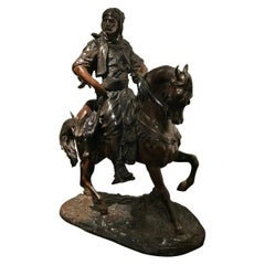 Bronze of Middle Eastern Man on Horseback Hunting