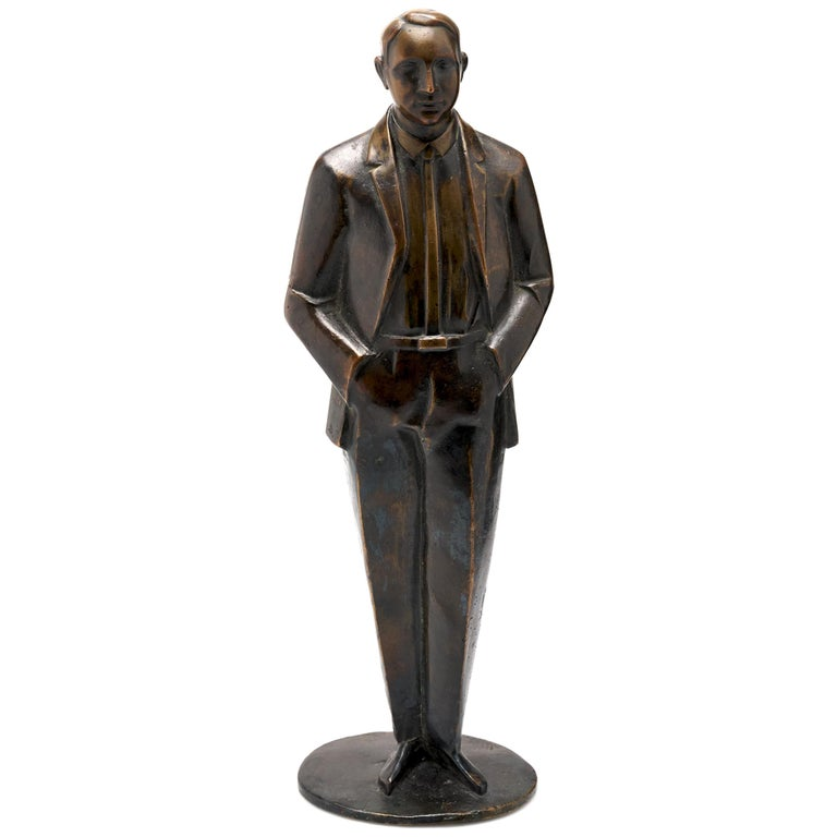 Bronze of Well-Dressed Man For Sale