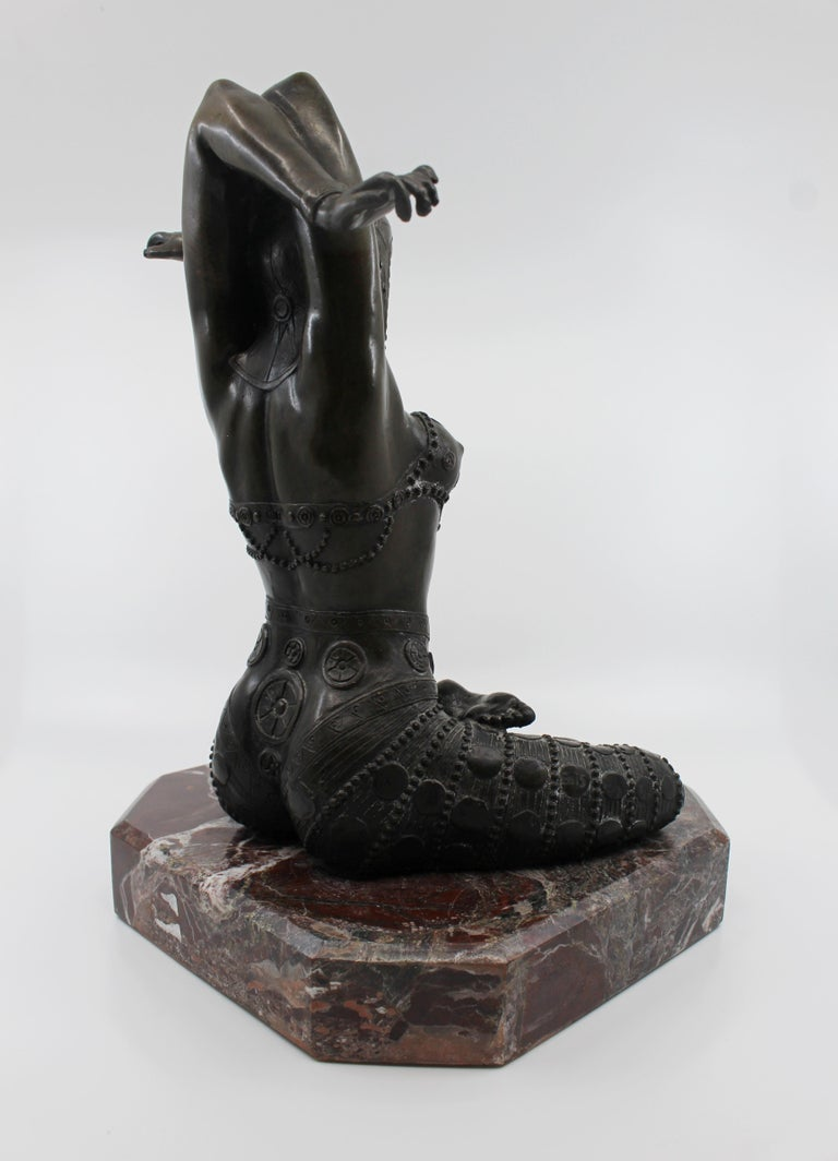 20th Century Bronze on Marble Base Seated Cross Legged Lady For Sale
