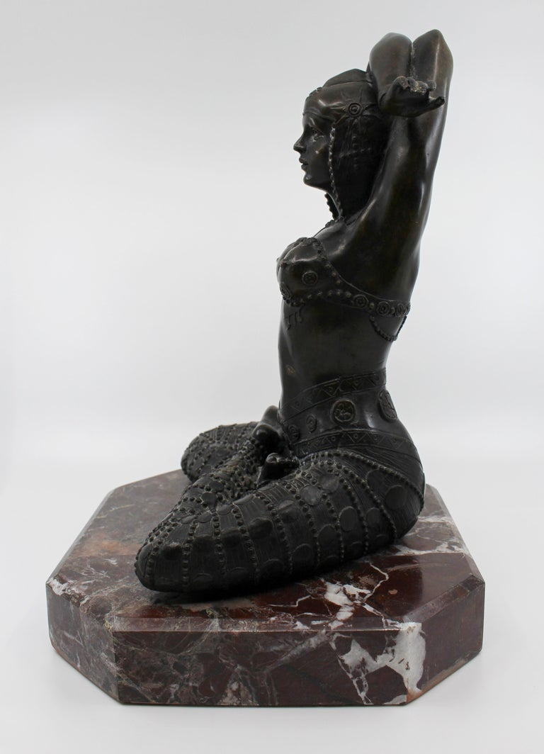 Bronze on Marble Base Seated Cross Legged Lady For Sale 2