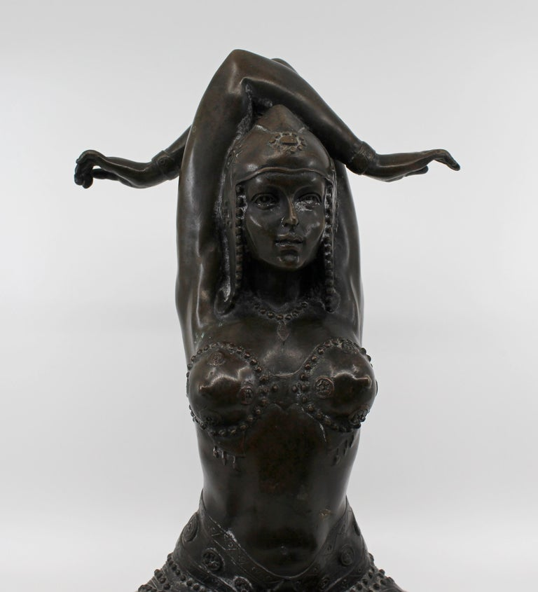 Bronze on Marble Base Seated Cross Legged Lady For Sale 3