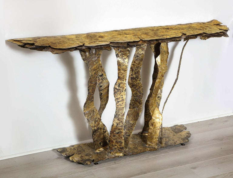 This superb and rare console table created on multiple layers of bronze on steel with an antique patina. Signed Silas Seandel.