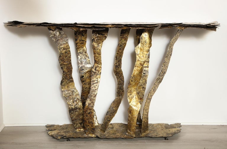 American Bronze on Steel Console Table, by Silas Seandel For Sale