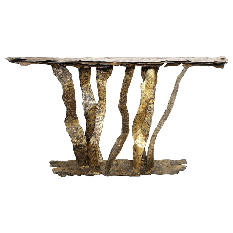 Bronze on Steel Console Table, by Silas Seandel For Sale