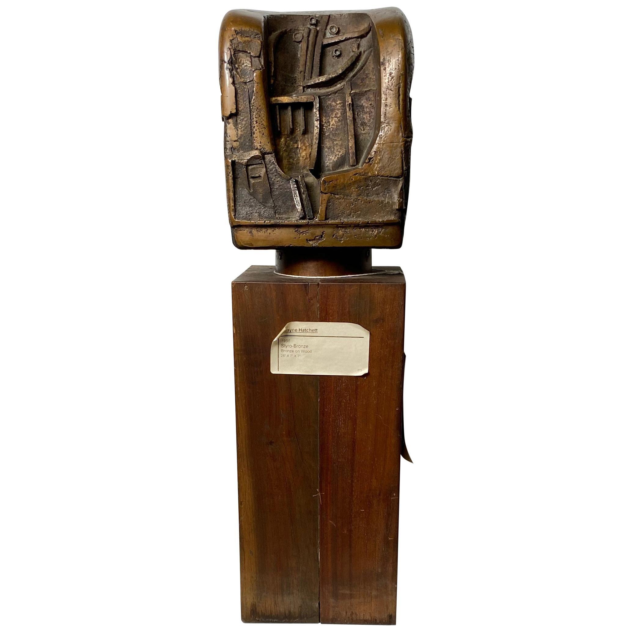 """Bronze on Wood Brutalist Sculpture,""""Styro-Bronze"""" by Duayne Hatchett, circa 1955"""