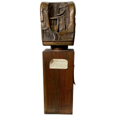 "Bronze on Wood Brutalist Sculpture,""Styro-Bronze"" by Duayne Hatchett, circa 1955"