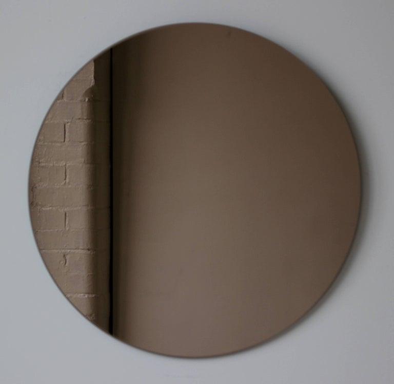 Modern Bronze Orbis Round Mirror, Frameless - Diam. 100cm / 39.4