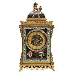 Bronze Orientalist Mantel Clock Having a Stylized Lion at Top by Bigelow Kennard