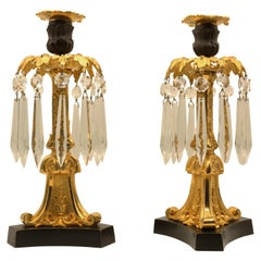Bronze & Ormolu Lustre Candlesticks