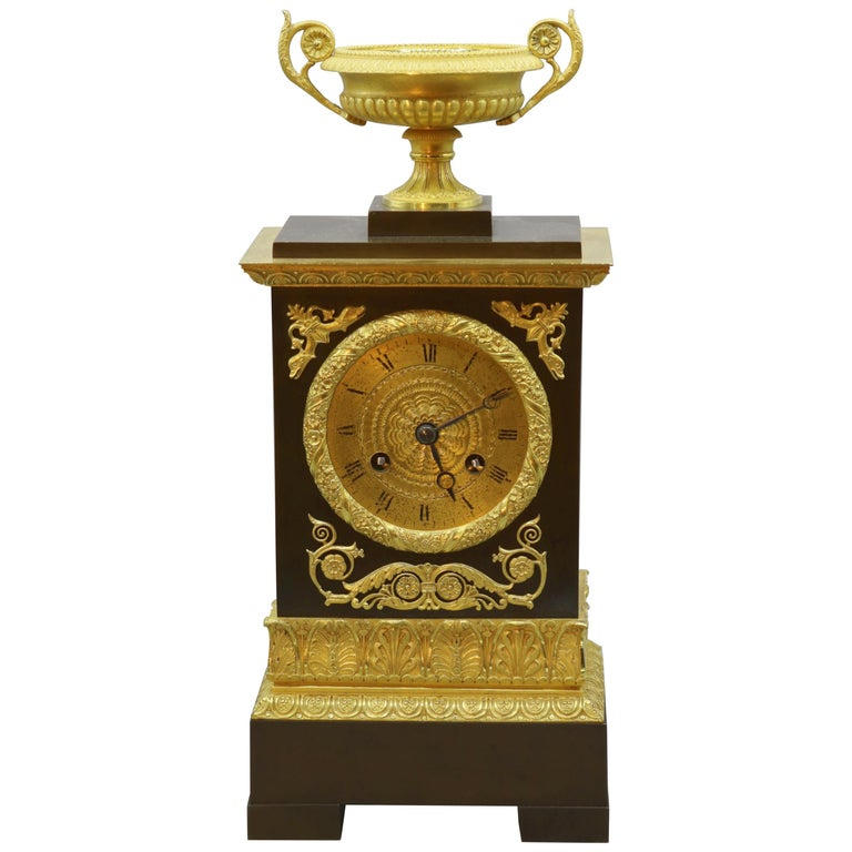 Bronze and Ormolu Silk Clock, 19th Century, French, Silk Suspension Striking For Sale