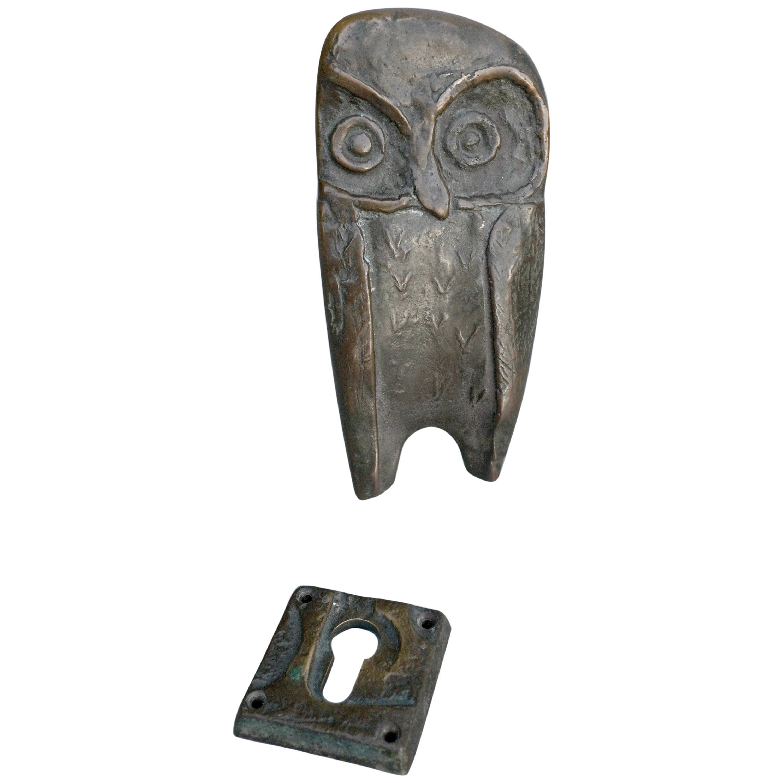 Bronze Owl Door Handle with Keyhole, 1960s