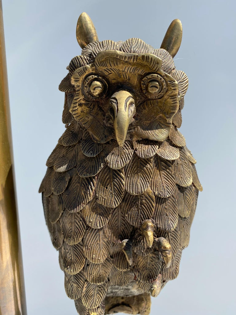 Bronze Owl Lamp by Marbro For Sale 3