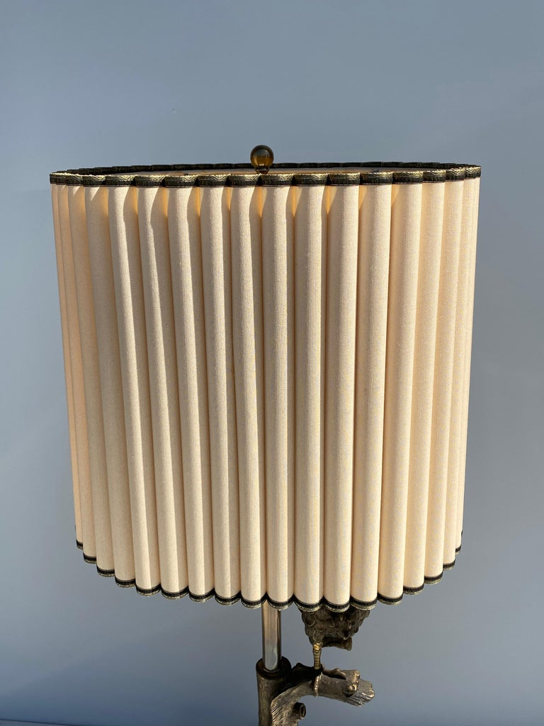 American Bronze Owl Lamp by Marbro For Sale