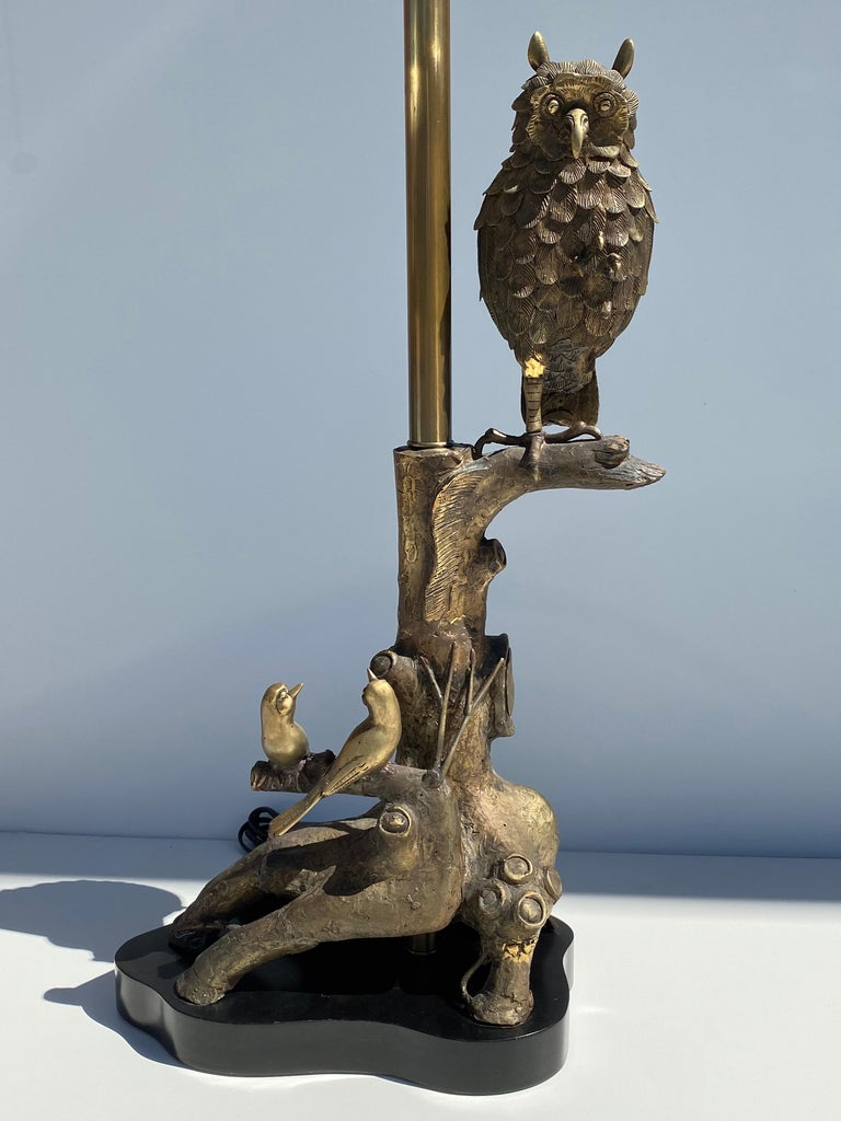 Bronze Owl Lamp by Marbro For Sale 1