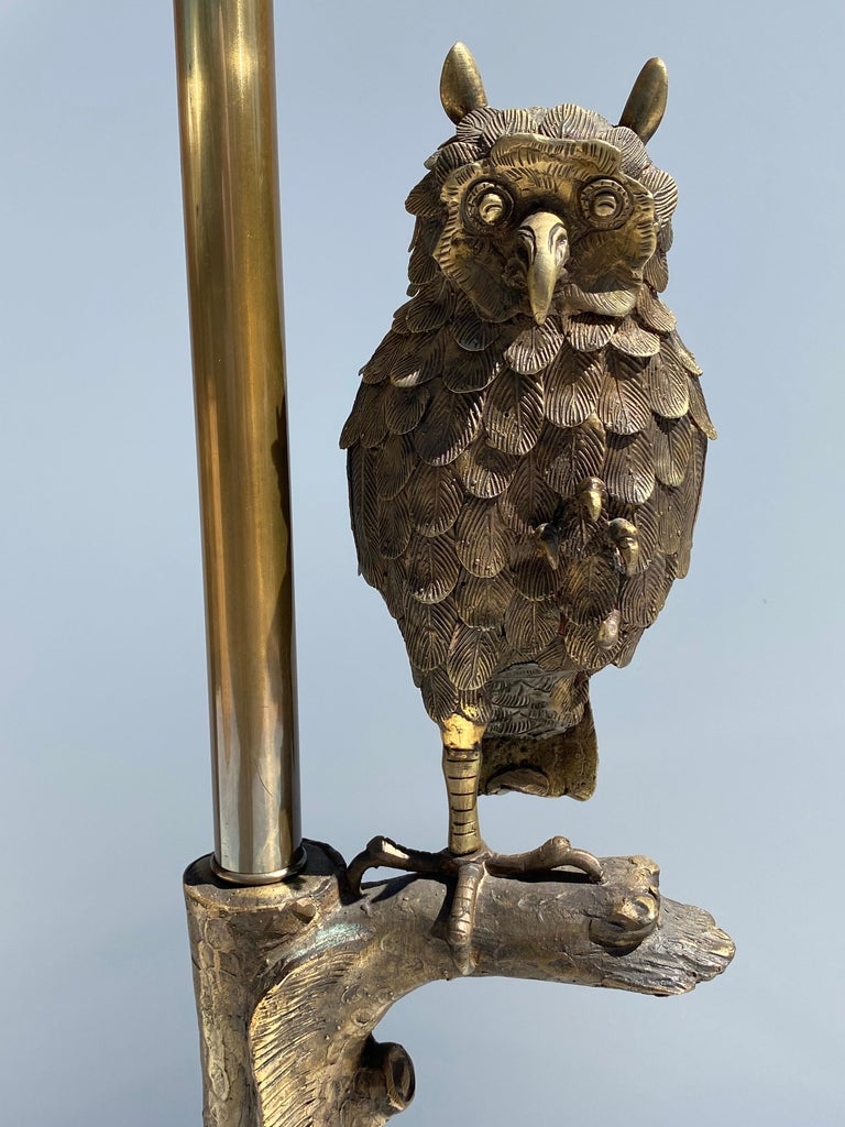 Bronze Owl Lamp by Marbro For Sale 2