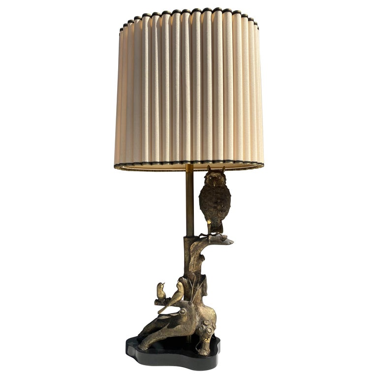 Bronze Owl Lamp by Marbro For Sale