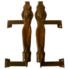 Bronze Pair of Large Push and Pull Door Handles Art Nouveau with Water Nymphes