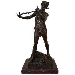 Bronze Pan Playing Flute by Felix Maurice Charpentier