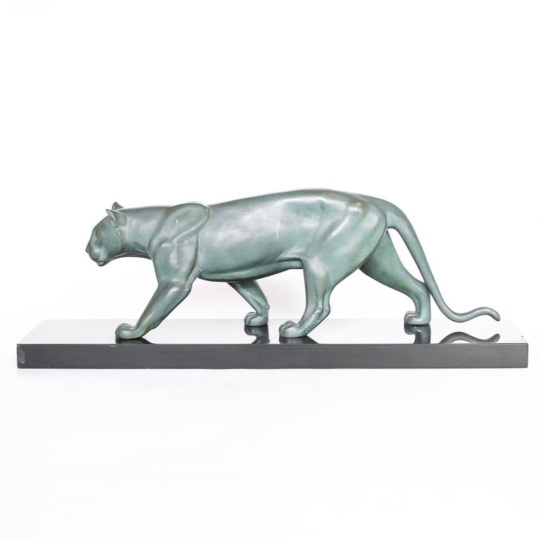 Patinated Art Deco Panther For Sale
