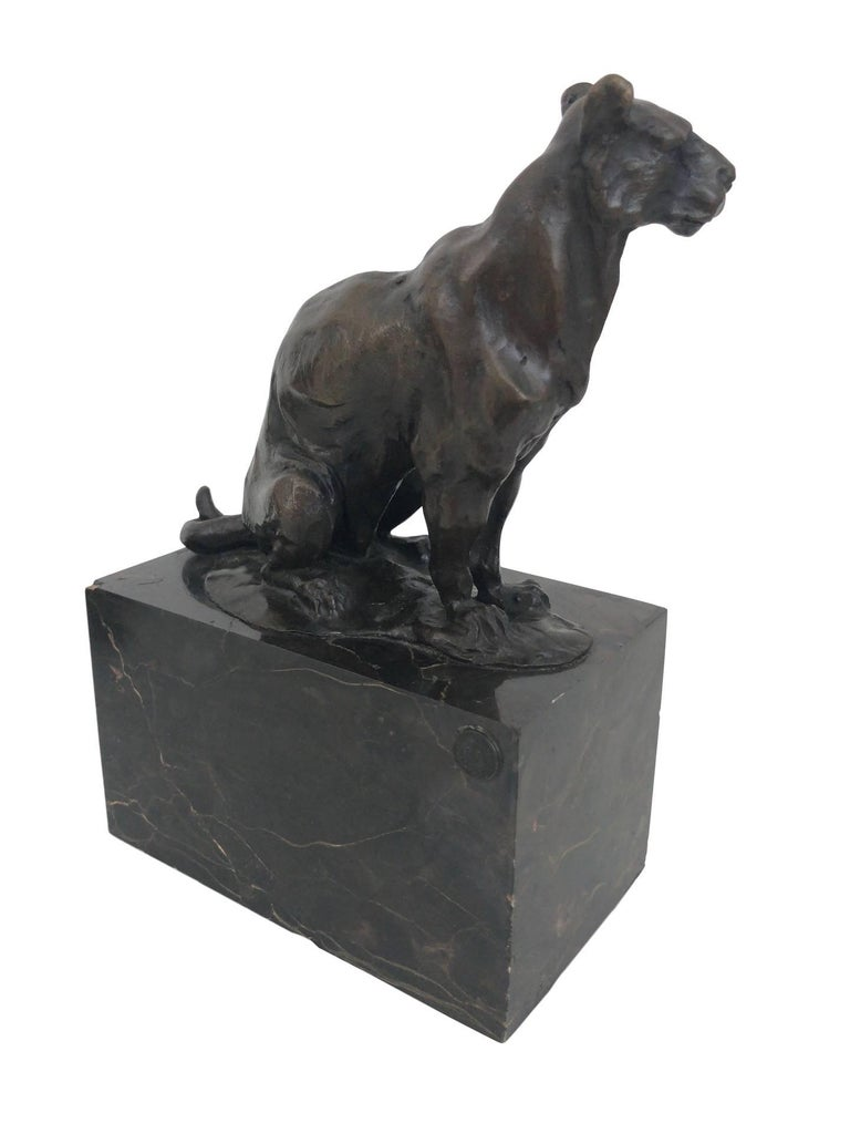 "Bronze sculpture ""Panther"" by ""Louis-Albert Carvin"" (1875-1951)