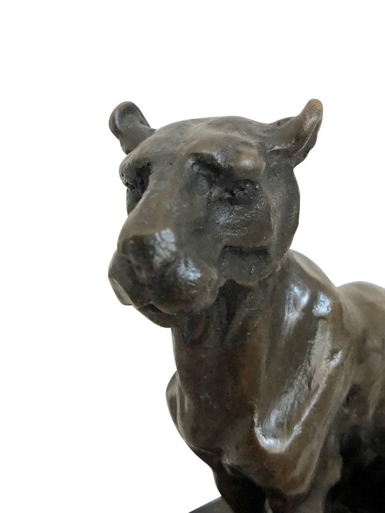 Mid-20th Century Bronze Panther Sculpture by Carvin, Art Deco, France, 1930s For Sale
