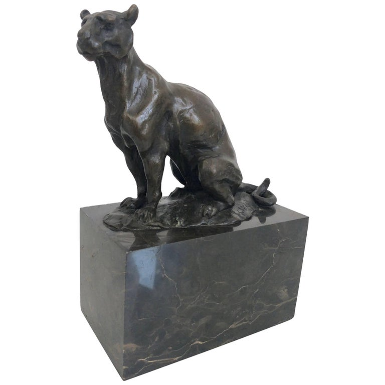 Bronze Panther Sculpture by Carvin, Art Deco, France, 1930s For Sale