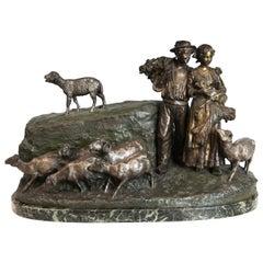 Bronze Pastoral Figure Group