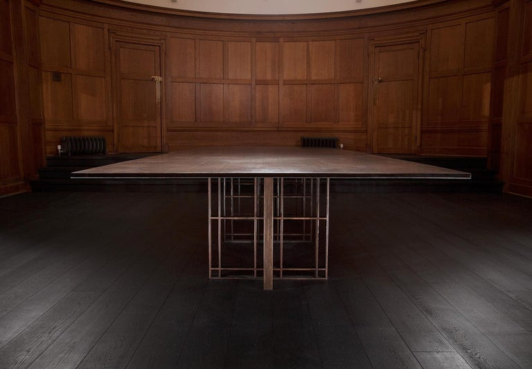 Bronze Patinated Steel Deco Boardroom Table By